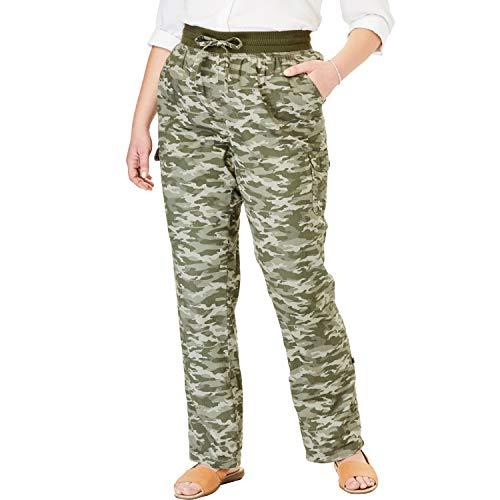 Woman Within Women's Plus Size Convertible Length Cargo Pant - Green Camo, 24 W
