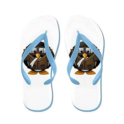 Verkligt Teague Mens Lilla Runda Pingvin - Airplane Jet Pilot Karibiska Blå Gummi Flip Flops Sandaler 8-10