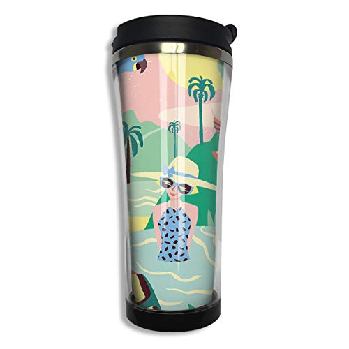 COLOMAKE Vacuum Insulated Stainless Steel Tumbler 14oz Double Walls Tropical Taking Pictures Birds Flamingo Water Bottle Coffee Mug for Office Travel Outdoor School Home