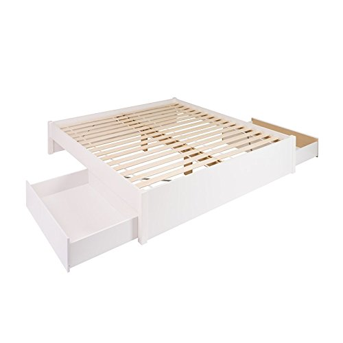 (Prepac Select King 4-Post Platform Bed with 2 Drawers in White)