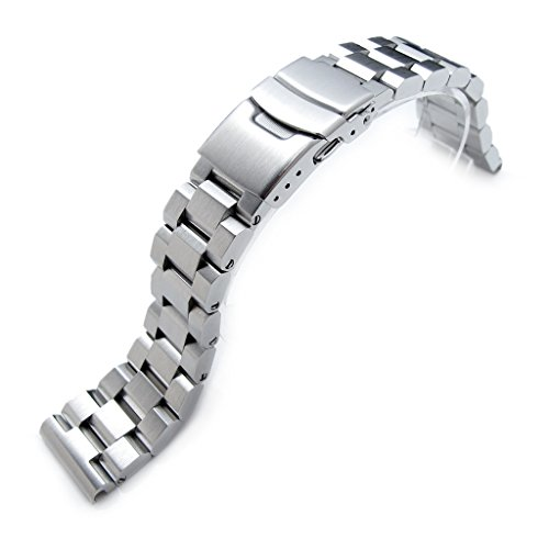 22mm Hexad Oyster 316L Stainless Steel Watch Band Straight End Lug, Diver Clasp ()