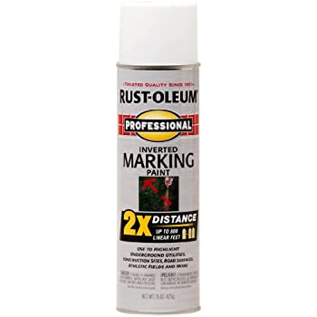Rust-Oleum 266593 Professional 2X Distance White Marking Spray Paint, 15-Ounce