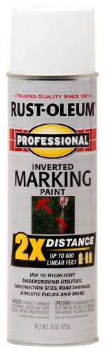 - Rust-Oleum 266593 Professional 2X Distance Inverted Marking Spray Paint, 15 oz, White