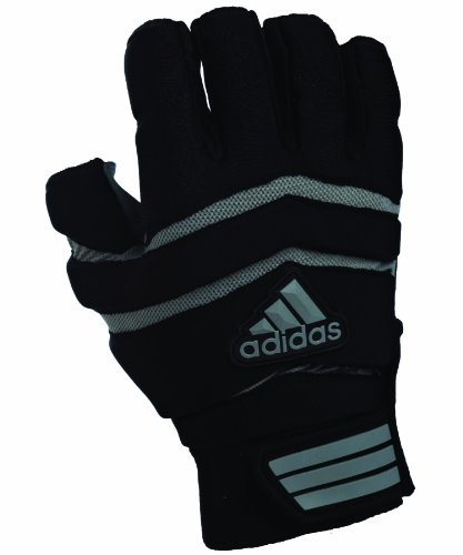 adidas Big Ugly 0.5 Padded 1/2 Finger Football Lineman Gloves, Small, Black/Gray