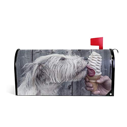 domook Magnetic Mailbox Cover Greetings Personalized Home Garden Decorative Mailbox Post Wrap Standard/Large Sized Outdoor Courtyard Garden Fence Winter Holiday Dog Licking Ice Cream