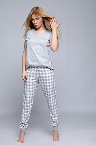 tuta pantaloni a composto made Pigiama cotone in Sensis trendy da lunghi Grigio maniche corte maglietta e Bianco EU 100 5Apqgwv