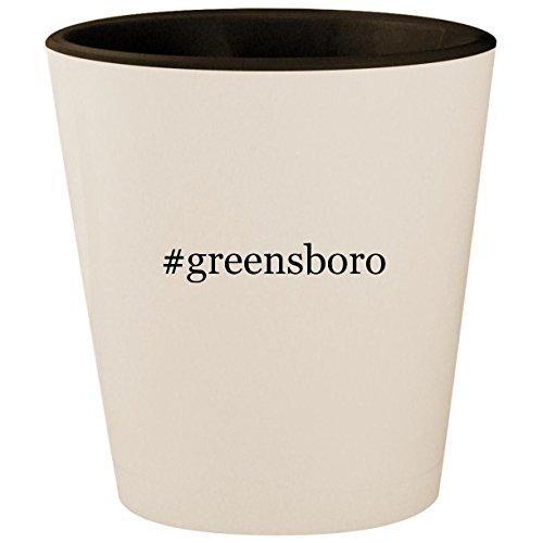 #greensboro - Hashtag White Outer & Black Inner Ceramic 1.5oz Shot -