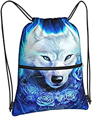 PrelerDIY Gym Drawstring Bags - Backpack for Men Women Girls Boys Sackpack with Zipper