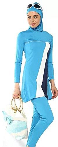 Muslim Swimsuit Islamic Full Cover Modest Swimwear Beachwear 2015 New Burkini (L, Grey with - Wetsuits Uk Swimming