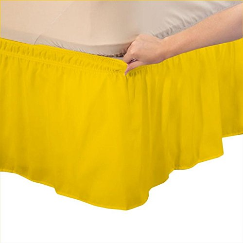 superlinen 3つファブリックSides Wrap Around伸縮性のソリッドベッドスカート、簡単/簡単オフ14インチTailoredドロップ100 %エジプト綿600スレッドカウント{クイーン、ホワイトソリッド} Twin-Xl イエロー B077NZPW1P Twin-Xl|イエロー イエロー Twin-Xl