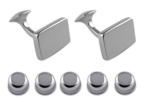 Shirt Sterling rectangular silver Dress Cufflinks Set Studs plain Gift wqqvS6I