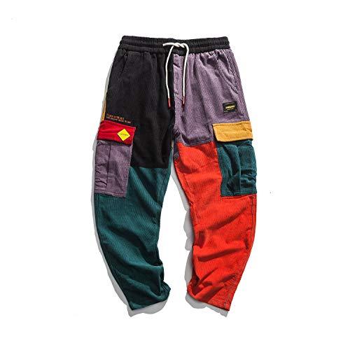 Aelfric Eden Color Patchwork Man Cargo Pants Women Street Hip hop Joggers Boys Streetwear Pant with Drawstring (S)