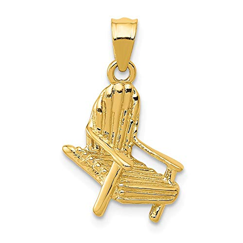 14k Yellow Gold Solid Chair Pendant Charm Necklace Sea Shore Beach Life Fine Jewelry Gifts For Women For Her