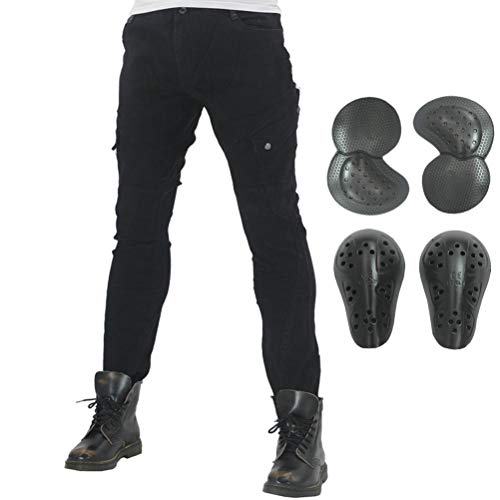(Men Women Motorcycle Riding Jeans Protective Pants Knight Hockey Biker Armor Pants (S=28, Black))