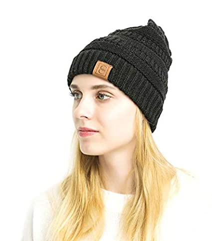 0f17d4407bf745 CC Chic Popular Winter Beanie (Black) at Amazon Women's Clothing store: