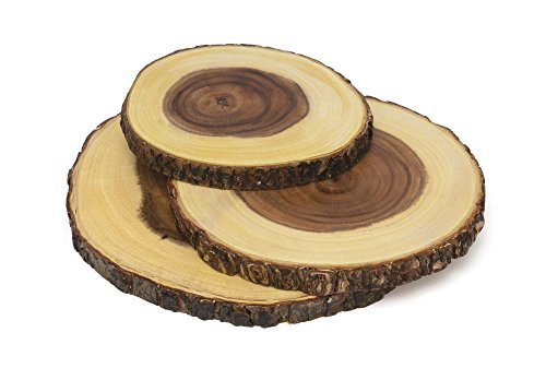 Lipper International 1040 Acacia Wood Slab Serving Board With Bark for Cheese, Crackers, and Hors D'oeuvres, Set of 3, Assorted Sizes (Rustic Wood Cupcake Stand)