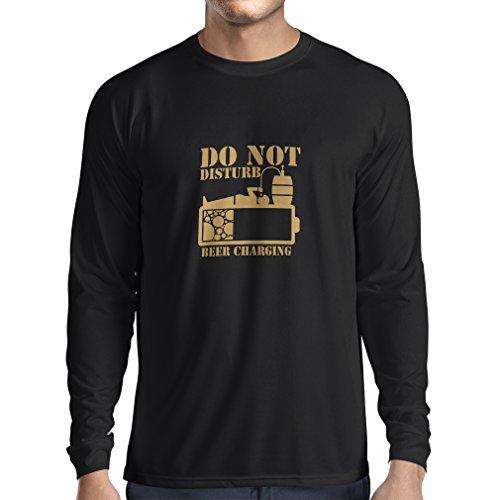 lepni.me Camiseta de Manga Larga para Hombre Cerveza Que Carga - Camisas del Alcohol, Ropa de la Barra, para la Fiesta...