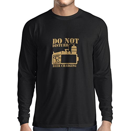 N4222L Long Sleeve t Shirt Men Beer Charging (Medium Black Gold)