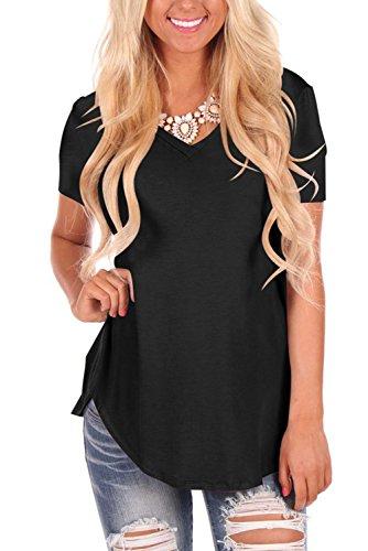 Con Donna T V Basic shirt Tee Nero Magliette Corta Scollo Dasbayla Manica Irregolare A nBwvxq0X5