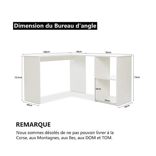 Mondeer – Bureau d'angle – avec Rangement 2 Étagères, Bois, 108(L) x 135(P) x 73(H) cm (Blanc)