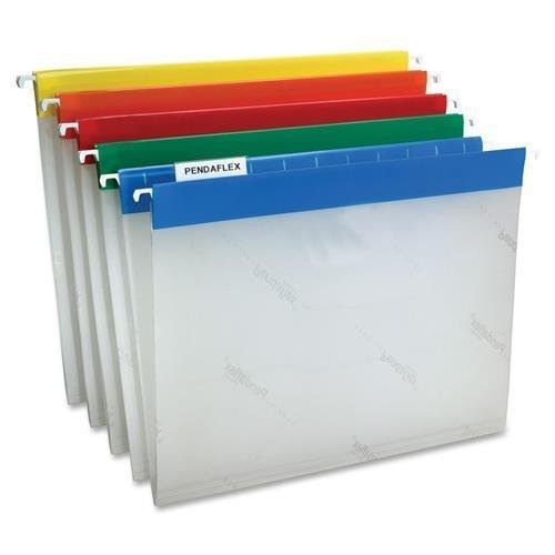 "55708 Pendaflex Easy View Poly Hanging Folder - 9.25"" Width x 11.75"" Length Sheet Size - 1/5 Tab Cut - Assorted Position Tab Location - Poly - Blue, Yellow, Red, Orange, Green - 25 / Box"