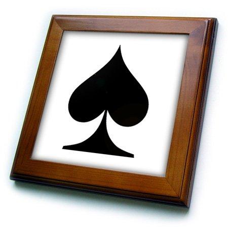 (3dRose ft_218703_1 Playing Cards Spade Cool Design Popular Image Framed Tile, 8
