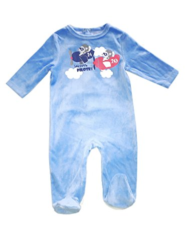 1-Piece Snug Fit Button up Newborn Footed Coveralls Closure Pajamas (Blue Airplanes, 24M)