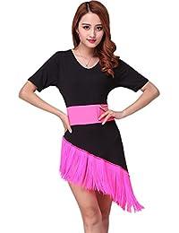 Womens Tassel Fringe V Neck Irregular Latin Rumba Dance Dresses