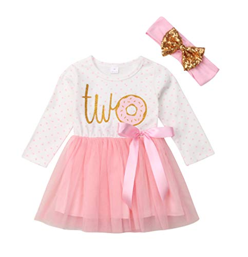 2Pcs Baby Girls Tutu Dress 1st Birthday Outfit Donut Letter Print Top Tulle Tutu Skirt with Headband Outfit Set (2-3T, Two Long Sleeve)