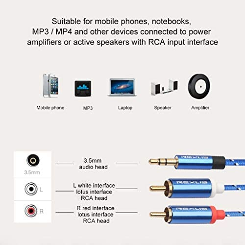 ネットワークメンテナンスツール、コンピューターアクセサリー、仕事に最適 1.8メートル、小型、軽量で持ち運びが簡単:RCA入力インタフェースのアクティブスピーカー、長さのためにデュアルRCA金メッキプラグブルーコットン編みこみのオーディオケーブルの3610 3.5ミリメートル男性