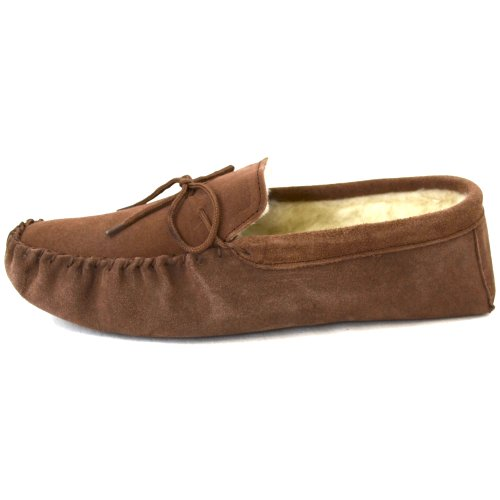 Ladies Camel / Light Brown Suede Moccasin Slippers with Soft Suede Sole. Sizes 3 to 9 UWvVpp