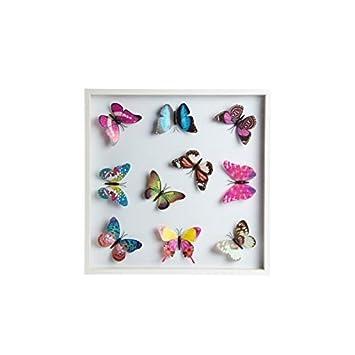 Amazon De Tableau Deco Papillon Bois Et Verre 42 X 42 X 3 5 Cm