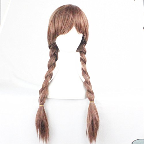 Popular Women Girl Party Wig Halloween Cosplay Wig with Two (Brown Long Wig With One Braid)