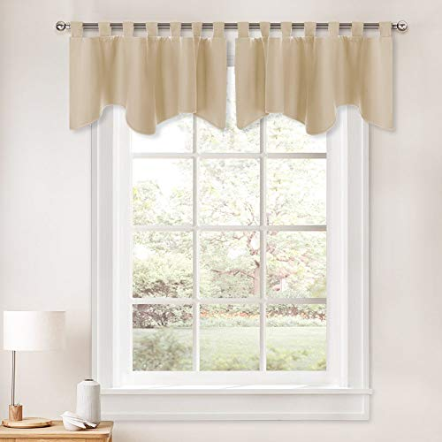 PONY DANCE Curtains Window Valance - Kitchen Drape Thermal Insulated Tab Top Blackout Tier Home Decoration Swags and Valances for Bedroom, 52 by 18 inch, Biscotti Beige, Sold as 2 Pieces