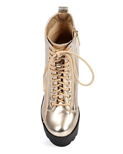 Breckelles Dc28 Scarpe Da Donna Con Lacci Metallici Suola Piattaforma Boot Da Combattimento - Oro