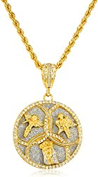Iced Out Angel & Jesus Face Trinity Pendant with a 30 Inch Rope Chain Necklace