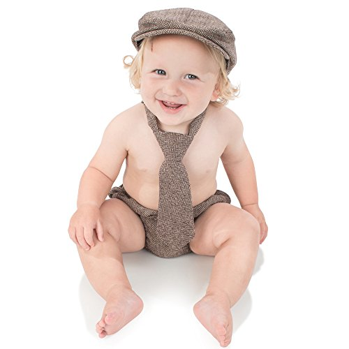 juDanzy Baby Boys Gift Box Cabbie hat Set (1-2 Years, Brown Tweed)