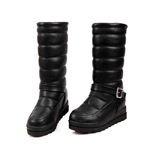 AllhqFashion Mujeres Tacón Medio Caña Media Sólido Sin cordones Puntera Redonda Botas Negro
