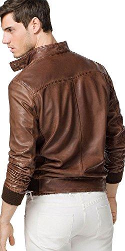 Massimo Dutti Zara Group Men Brown Genuine Leather Bomber Jacket