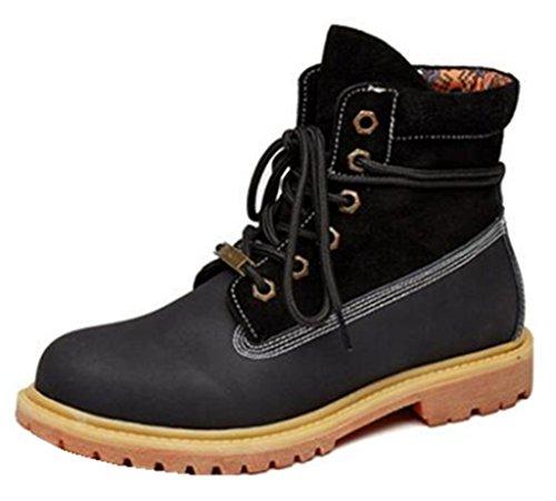 Happyshop Tm Winter Fashion Martin Botas Botines Hasta Los Tobillos Zapatos De Los Amantes Negro