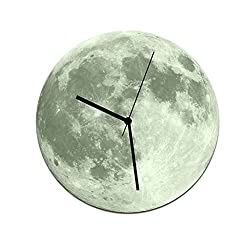 Blesiya 11Inch Large Non Ticking Silent Decorative Wall Clock, Luminous 3D Moon Shaped Battery Operated Quartz Analog Quiet Wall Clock, For Living Room, Kitchen, Bedroom - Grey