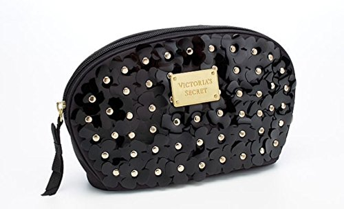 Victoria's Secret Large Wedge Cosmetic Bag - Black / Gold Flowers
