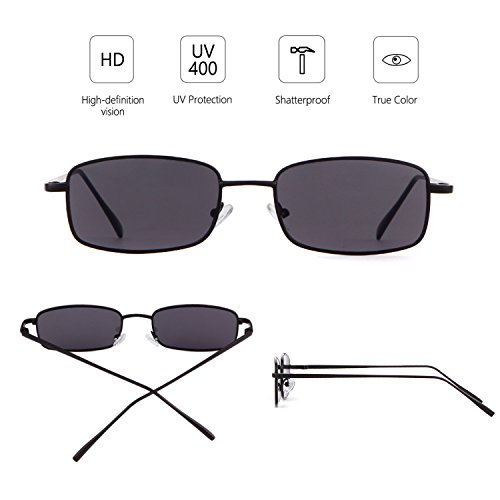 Fashion Black Lens Glasses Retro Men Square Women Dark for ADEWU Frame Sunglasses Gray 16nExxS