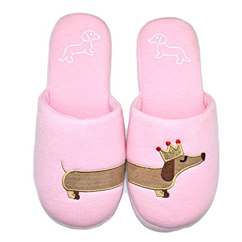 Dog Slippers hot Critter House Indoor Shoes Dachshund Slippers Ladies Girls Women Shoes Slides (Women US 7-8, Pink Dog)