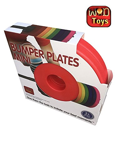 WOD Toys Colored Bumper Plates Mini - Add On Bumper Plates for The Barbell Mini - Safe, Durable Fitness Toys for Kids (Red)