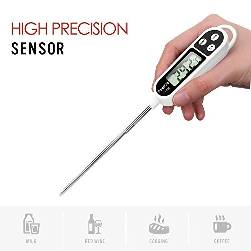 Digital Cooking Thermometers, Accevo Larger Screen Display Stainless Food Thermometer for Meat, Grill, Milk, Candy, with Long Probe, Auto Shutdown by Accevo