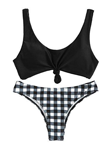 Halter Plaid Bikini (SweatyRocks Women's Sexy Two Piece Bathing Suit Padded Knot Plaid Bikini Set Black L)