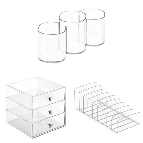 InterDesign 3-Piece Bathroom Vanity & Countertop Organizer Set: Clarity Cosmetic Trio Cup, Palette Holder, 3-Drawer Storage for Makeup & Accessories – Clear/Chrome