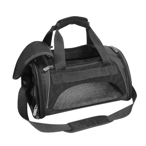 Sherpa 44071 Sport Duffle Pet Carrier, Medium, Black with Silver (Sport Duffle Pet Carrier)
