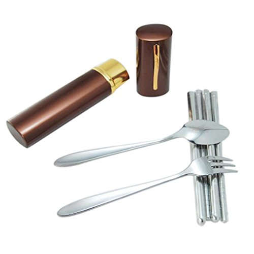 Elevin(TM)Portable Stainless Steel Spoon Fork Chopsticks Lunch Tableware Cutlery Set (Coffee)